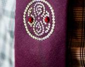 The Red Seal of Rassilon Tie: Deep Red 100% Silk Necktie with Swarovski Crystals