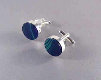 Blue Green Cufflinks SHIPS IMMEDIATELY Round Handmade Cuff Links Blue Wedding Green Wedding Gift Groom Groomsman Birthday Gifts for Him