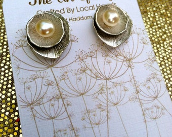 Handmade Lotus Leaves with Pearl Earrings