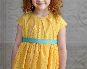 Savannah Pleated Party Dress: Girls Dress Pattern, Easter Dress Pattern, Flower Girl Dress Pattern