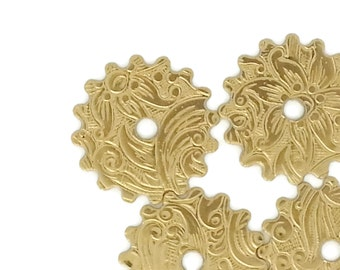 Steampunk FILIGREE FLORAL Cog Gears in Golden Raw Brass 16mm Qty 4 Lot Assemblage Altered Art Made in the USA