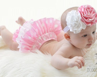 Pink Polka Dot Fabric Flower Rosette Headband or Hair Clip for Baby, Toddler, Girls and Adults