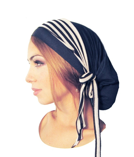 Hair Snood, Tichel, Head Scarf, Chemo Hat, Chemo Cap, Pre Tied Bandana: Navy Blue Black White Stripe Wrap. . . see many more styles in shop by ShariRoseShop