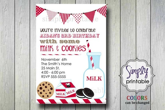 Milk & Cookies Birthday Invitation