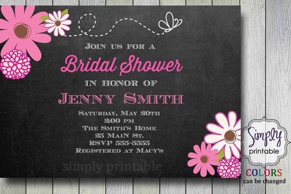 Floral Blackboard Bridal Shower Invite (Printable)