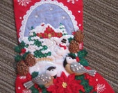 "Finished Felt Christmas Stocking ""Chickadee"" 18 inch"