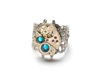 DECEMBER Steampunk Ring, BLUE ZIRCON Steampunk Vintage Watch Ring, Antique Silver Ring Steam Punk Steampunk Jewelry By Victorian Curiosities