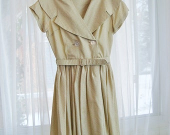 Lovely  Cream Belted Party Dress with Embroidery, Size Extra Small