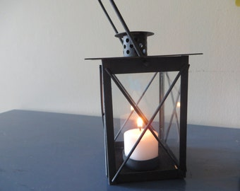 Square Mini Black Lantern table decoration  - avail in white and ivory as well - wedding reception, centerpiece, favor