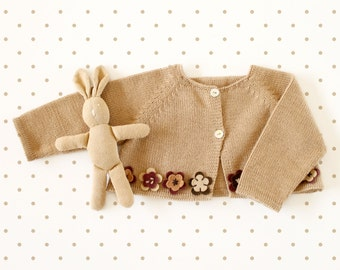 Knitted baby little coat in camel with felt flowers. 100% merino wool. READY TO SHIP in size 1/3 months.