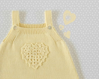 Knitted baby skirt with crochet heart. Soft yellow. 100% cotton. READY TO SHIP size 1-3 months.