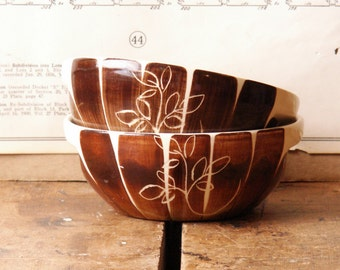 Pair of Vintage Brown and White Striped Bowls with Leaf Motif