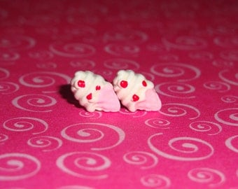 Tiny Vanilla Cherry Chip Ice Cream Cone Earrings