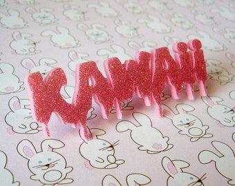 "Sparkle and Shine ""KAWAii"" Pink Acrylic Laser Cut Words Ring"