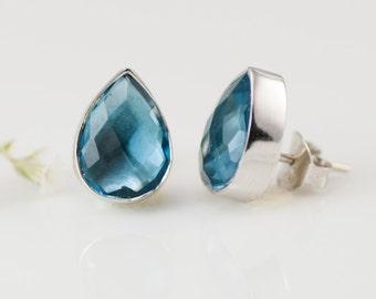 Stud Earrings - London Blue Topaz Stud Post Earrings - Tear Drop Shape Studs - Silver Stud Gemstone Earrings - December Birthstone Earrings