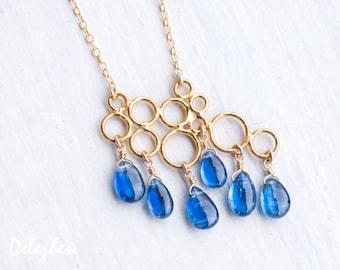 Blue Kyanite Necklace - Rain Drop Necklace - Bridal Necklace - Gold Necklace - Gemstone Necklace - Something Blue