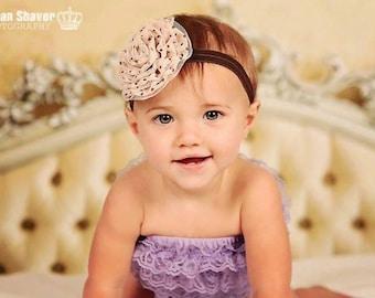 Baby Headband- Beige Organza and Chiffon Flower on Soft Brown Elastic Headband