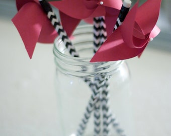 Escort Cards wedding party 6 Chevron Pinwheels Pencils - Custom orders welcomed