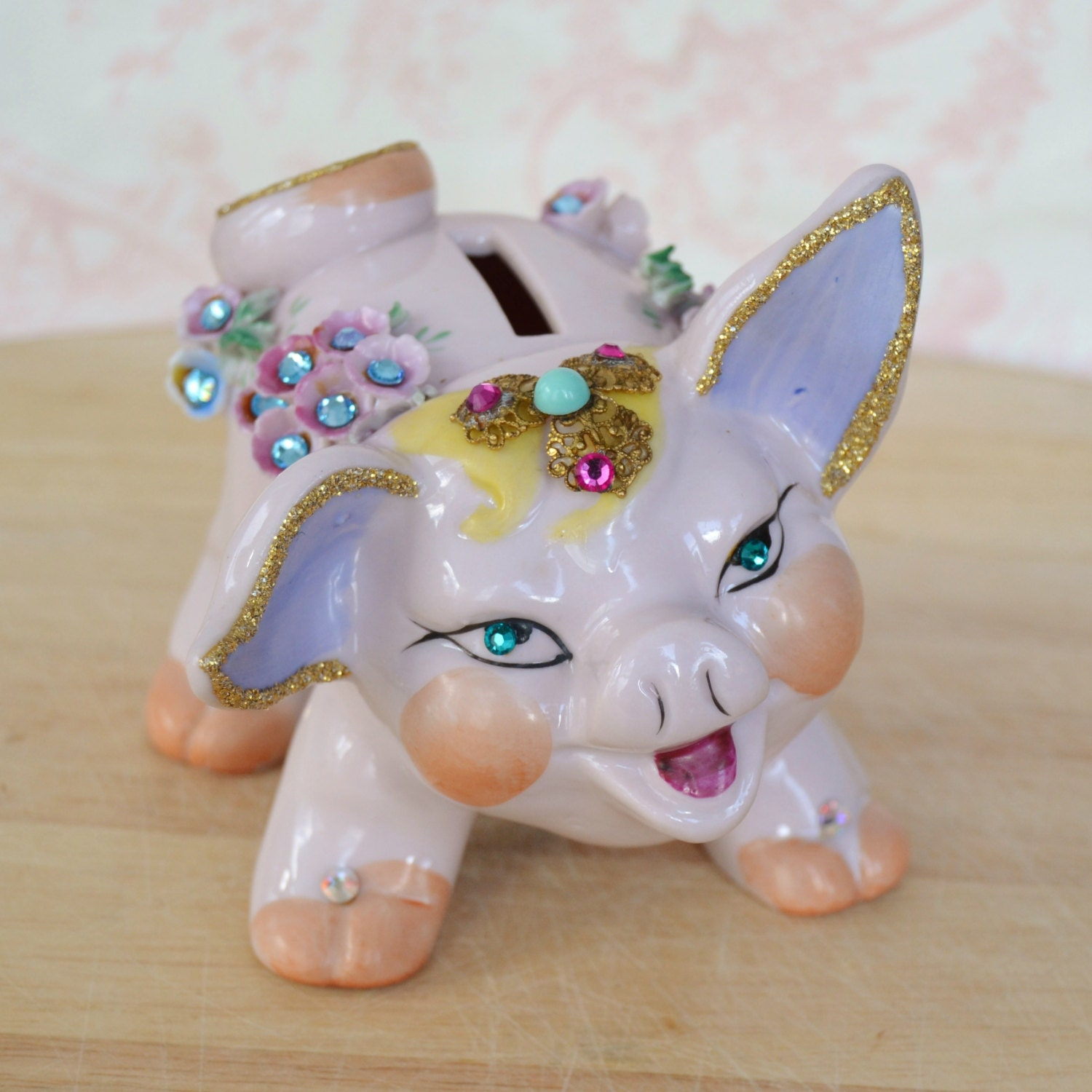 Vintage rhinestone and glitter pink piggy bank - Rhinestone piggy bank ...