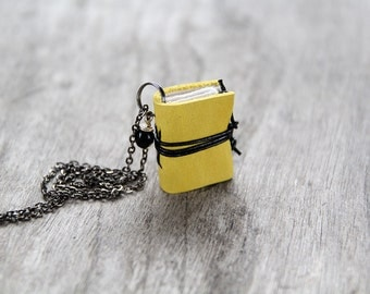 Miniature book necklace, mini book jewelry pendant steampunk journal necklace, eco friendly necklace literature yellow