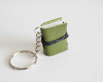 mini book keychain, key accessories leather keychain, women men keychain, key fob book keychain, book lover, miniature leather journal