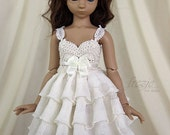 Cream ruffle dress for TINY bjd Saintbloom girls