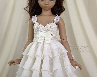 Cream ruffle dress for TINY bjd Saintbloom girls