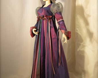 BJD Purple Opulencia Gown, Cape and Crown