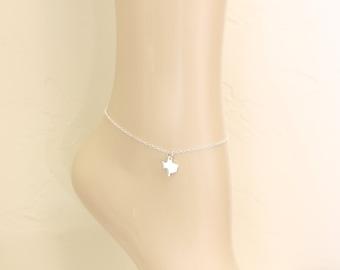 Texas Anklet, Sterling Silver, Ankle Bracelets, Ankle Jewelry, For Her, Anklet Jewelry, Silver Texas, Texas Jewelry, State Jewelry, Texas