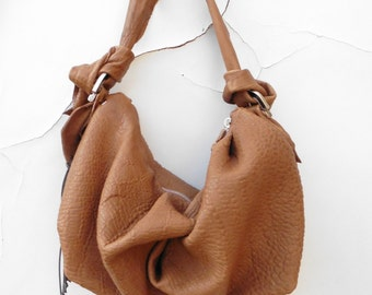 Slouchy Purse in Caramel Leather  -  Pleated and Knotted . Black or  Grey also available -  Made to Order