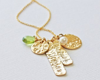 Gold Family Hammered Vertical Bar and Circle Disc Charm Pendant with 1 2 Kids Names and Birthstones - Unique Push Present