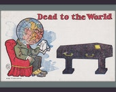 Dead to the World- 1900s Antique Postcard- Strange Card- Old Art Comic- Crying Globe- Coffin Casket- Paper Ephemera- Unused