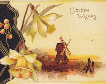 Golden Wishes, Happy Yuletide- 1910s Antique Card- Daffodils- Christmas Decor- H. M. Burnside- Raphael Tuck & Sons- Paper Ephemera