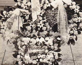 Peace For Papa- 1910s Antique Photograph- Funeral Flower Wreaths- Bridgeport, Ohio-  Real Photo Postcard- RPPC- Paper Ephemera