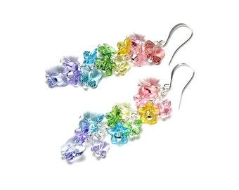 Butterfly Garden Swarovski Crystal Silver Earrings, Pastel Butterfly Earrings, Long, Butterfly Jewelry, Pink, Peach, Yellow, Green, Purple