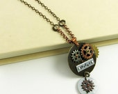 Steampunk Necklace with Gears and Cogs (Reversible Necklace with 2 Sided Pendant and Secret Message)