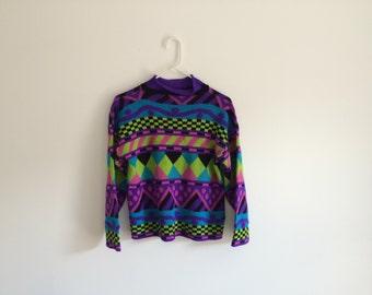 1980s NEON geometric HIPSTER/ grunge kaleidoscope sweater