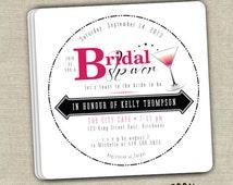 Hot Pink and Black Cosmopolitan Drink Coaster Bridal Shower Invitations