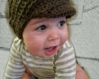 The Newsboy Classic Baby Hat- Crochet Newborn-9+ Months, NATURAL colors- FREE SHIP