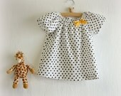 Black Polka Dots Blouse Toddler baby cotton blouse  /  spring summer clothes / Girls top / girl blouse