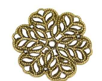 Filigree : 10 pieces Antique Bronze Filigree Flower Connectors Links   Brass Filigree Metal Stampings -- Lead, Nickel & Cadmium free 14746.P