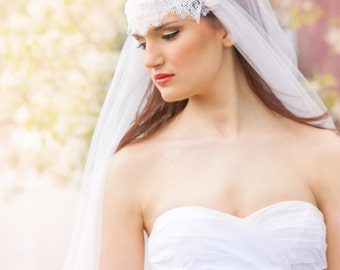 Two Layer Juliet Veil with Chantilly Lace, Blusher Layer - Waltz Veil - Barcelona