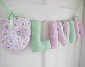OLIVIA - Personalized Baby name wall hanging, nursery wall decor. New baby girl, first birthday or christening gift. Pink and green decor.