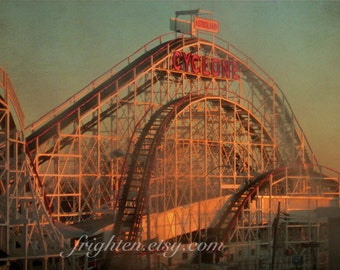 Roller Coaster Art, Coney Island, Cyclone Photography, Photography Print, Brooklyn Photography, New York Photography, Green and Red
