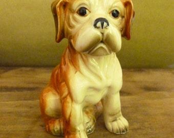 Vintage Boxer Puppy - Dog Figurine - Porcelain Figurine - Boxer Statue - Knick Knack