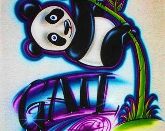 Airbrush T Shirt Panda Bear and Name, Airbrush Panda Shirt, Panda Bear Shirt, Airbrush Panda Bear, Panda Bear, Panda Shirt, Airbrush Panda