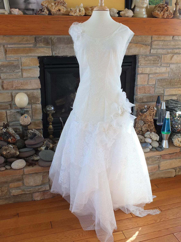 Handmade 1920s inspired flapper wedding dress art deco lace for 1920s inspired wedding dresses