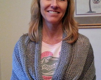 Silver Gray Infinity-Mobius Shawl or Cowl