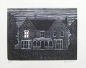 Borley Rectory - a light in room 7 - original wood engraving print