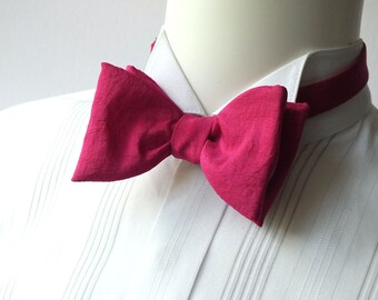 Pink Bow tie, tafetta / mens / self-tie / for him, freestyle, self tie / adjustable by Bagzetoile - bowties for men